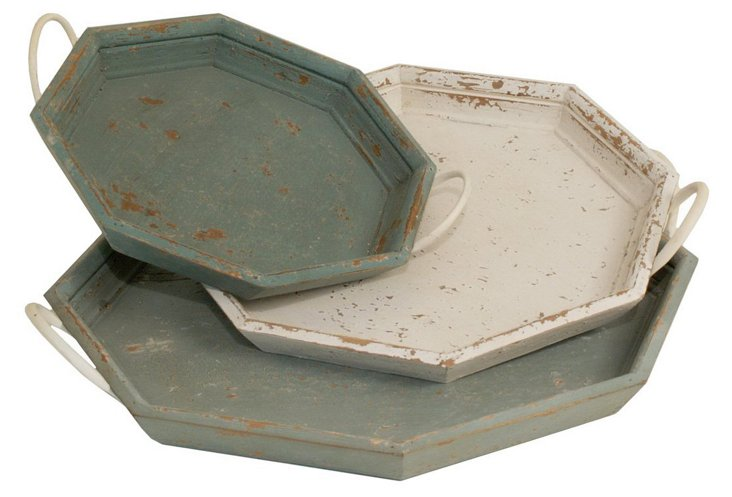 Rustic Octagonal Wood Trays, Asst. of 3