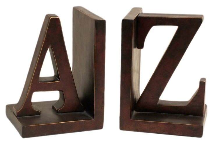 Pair of Letter Bookends, Bronze
