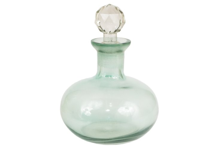 """8"""" Glass Bottle w/ Faceted Stopper"""