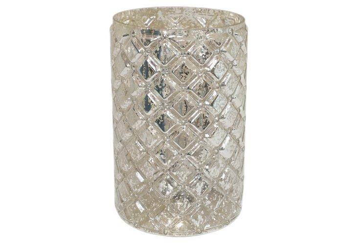"8"" Glass Candleholder, Silver"
