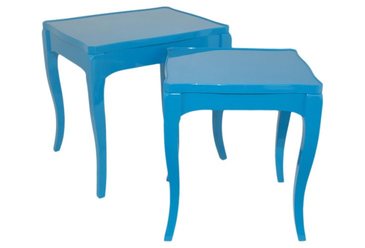 Blue Lillian End Tables, Set of 2