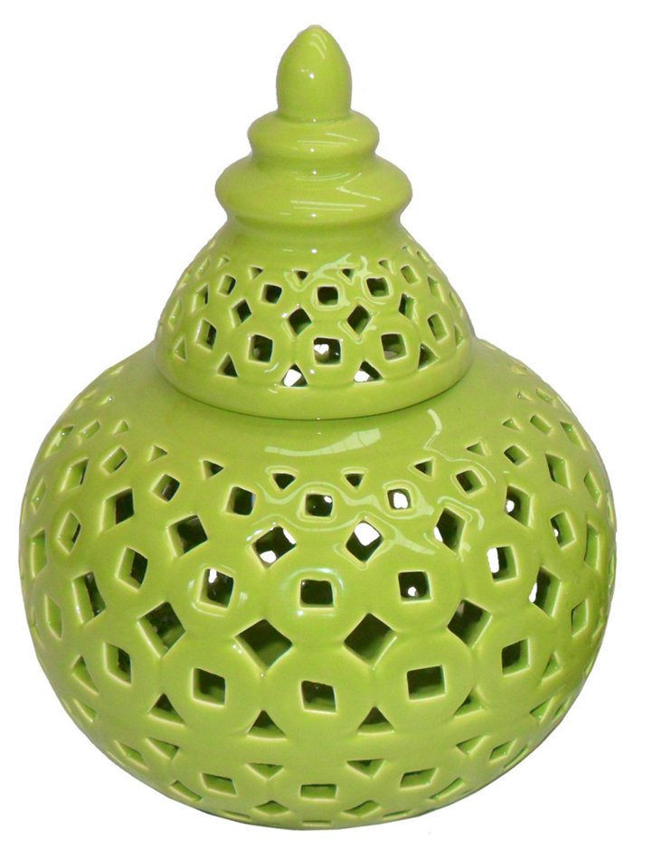"Covered Ceramic Jar, 9"" Green"