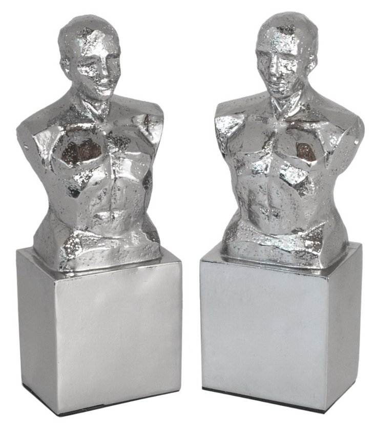 Pair of Male Bust Bookends, Silver