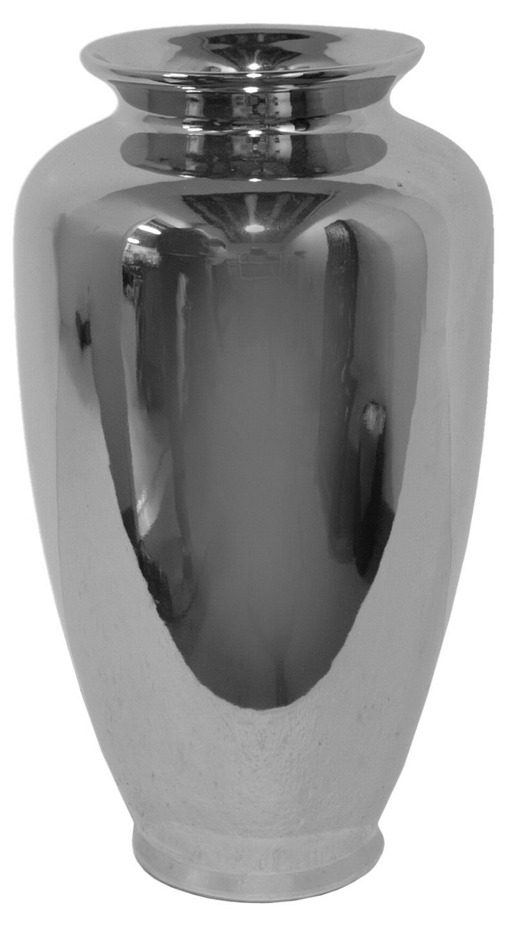 """14"""" Covered Plated Vase, Silver"""