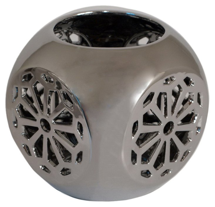 """7"""" Plated Ceramic Candleholder, Silver"""