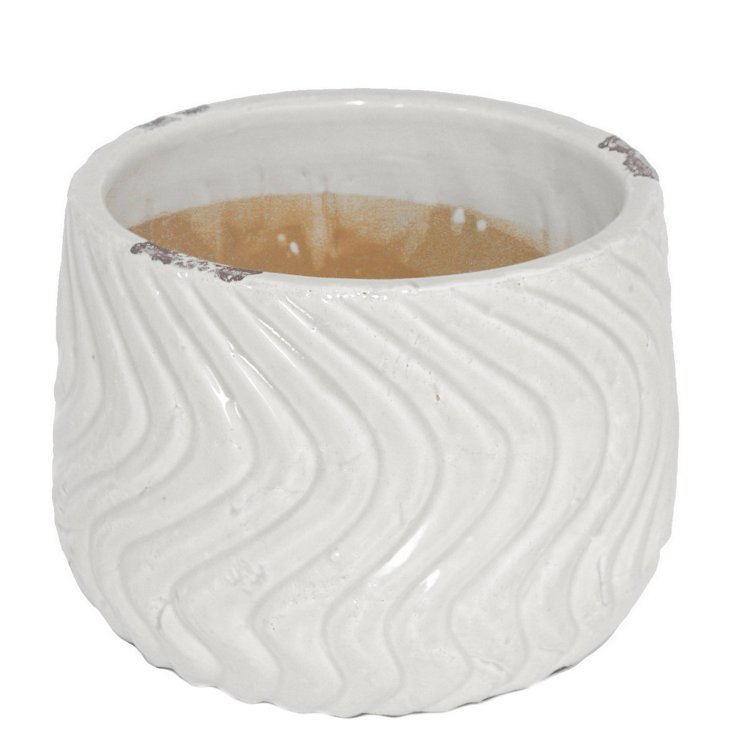 "7"" White Wave Planter"