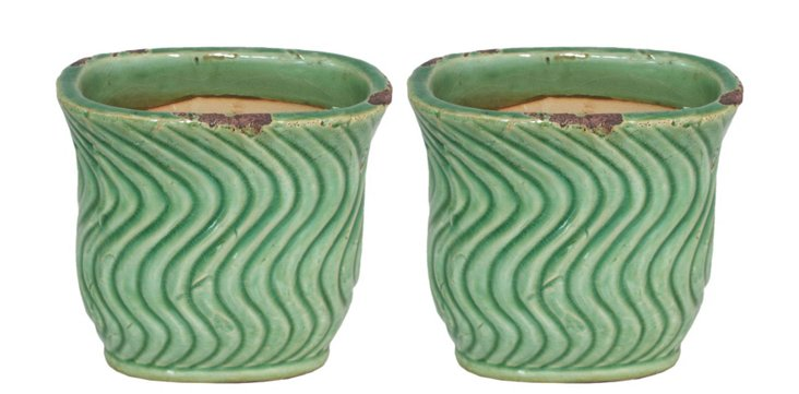"""S/2 7"""" Wave Planters, Green"""