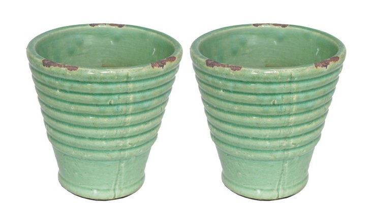 """S/2 6"""" Ribbed Planters, Green"""