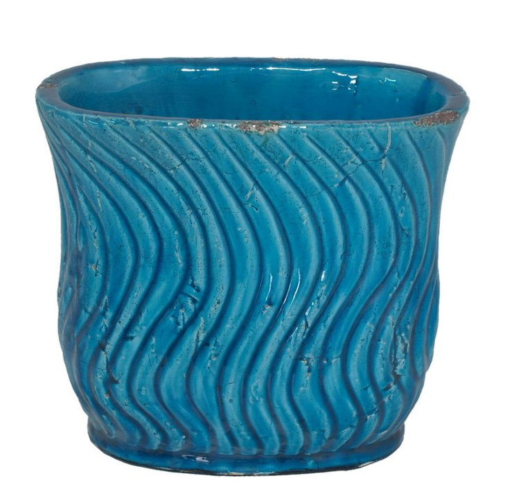 "10"" Wave Planter, Turquoise"