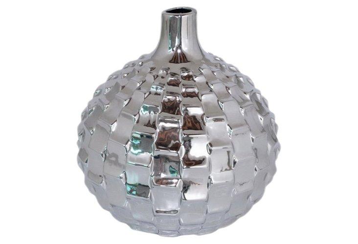 """10"""" Textured Vase, Silver"""