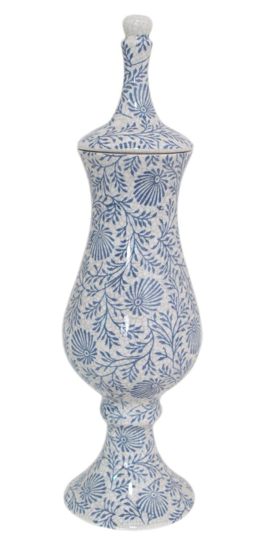 """16"""" Covered Floral Vase, Blue"""