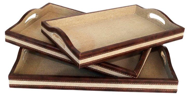 S/3 Wood Trays w/ Stripes