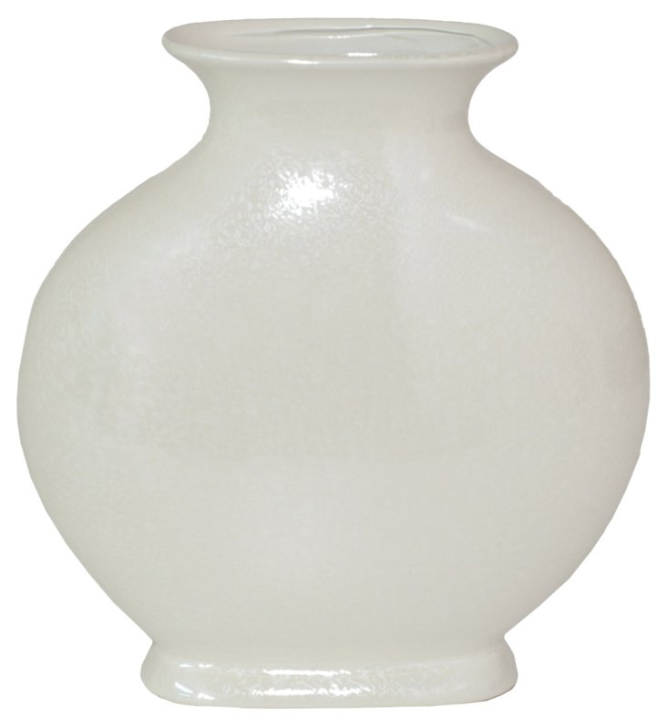 """12"""" Ceramic Vase, Ivory"""
