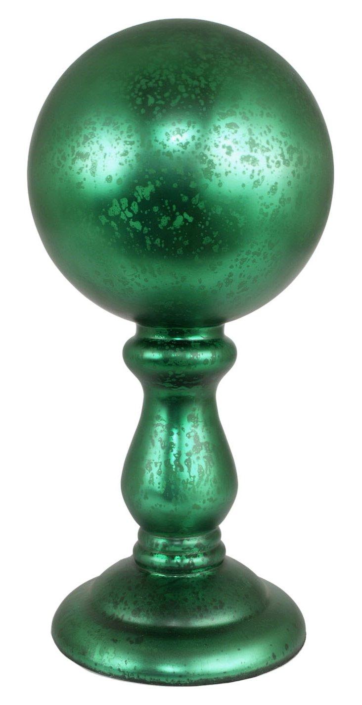 "17"" Mercury Glass Orb Finial, Green"