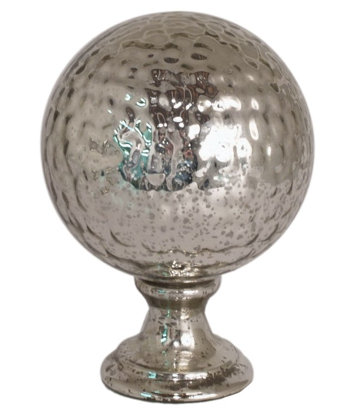 "16"" Mercury Glass Orb Finial, Silver"