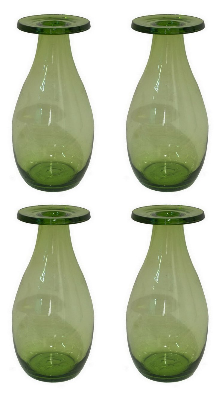 S/4 Flat Top Vases, Green