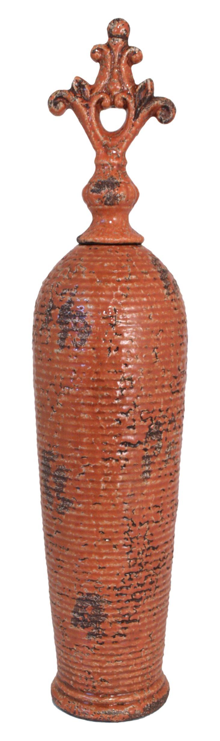 """25"""" Covered Ceramic Jar, Orange"""