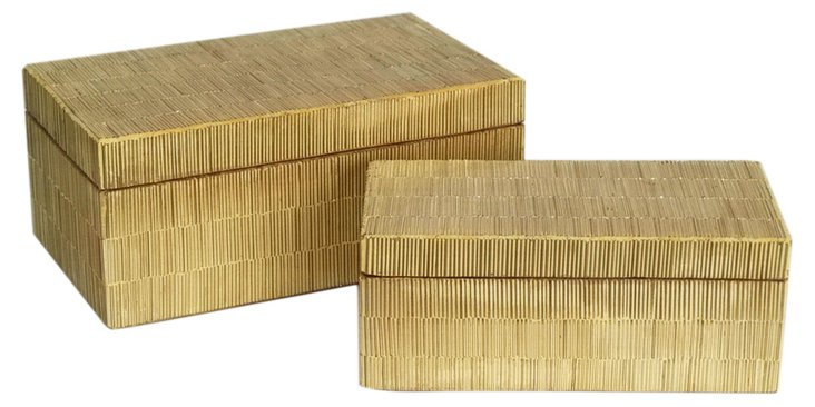 S/2 Gold Textured Boxes