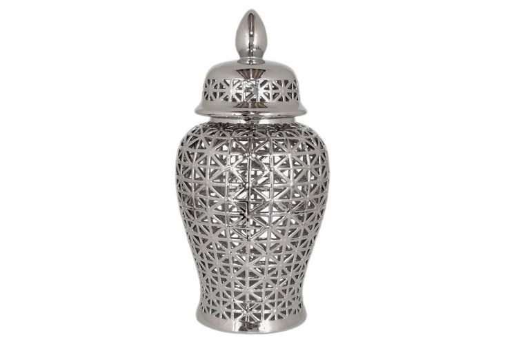 "25"" Ceramic Temple Jar, Silver"