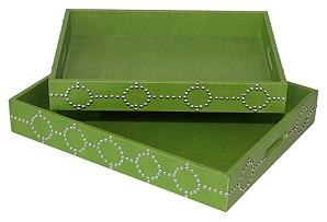 Green Studded Trays, Asst. of 2