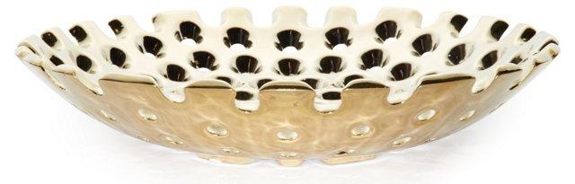 """15"""" Ceramic Plate, Gold"""