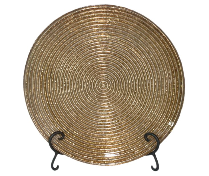 "13"" Ribbed Glass Plate, Gold"