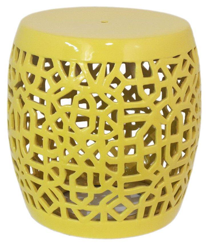 Pierced Garden Stool, Yellow
