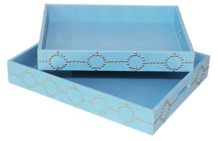S/2 Asst. Studded Trays, Sky