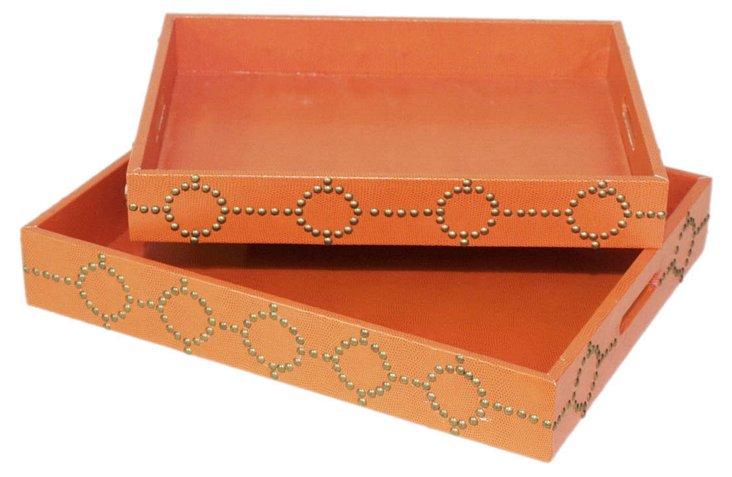 S/2 Studded Trays, Orange