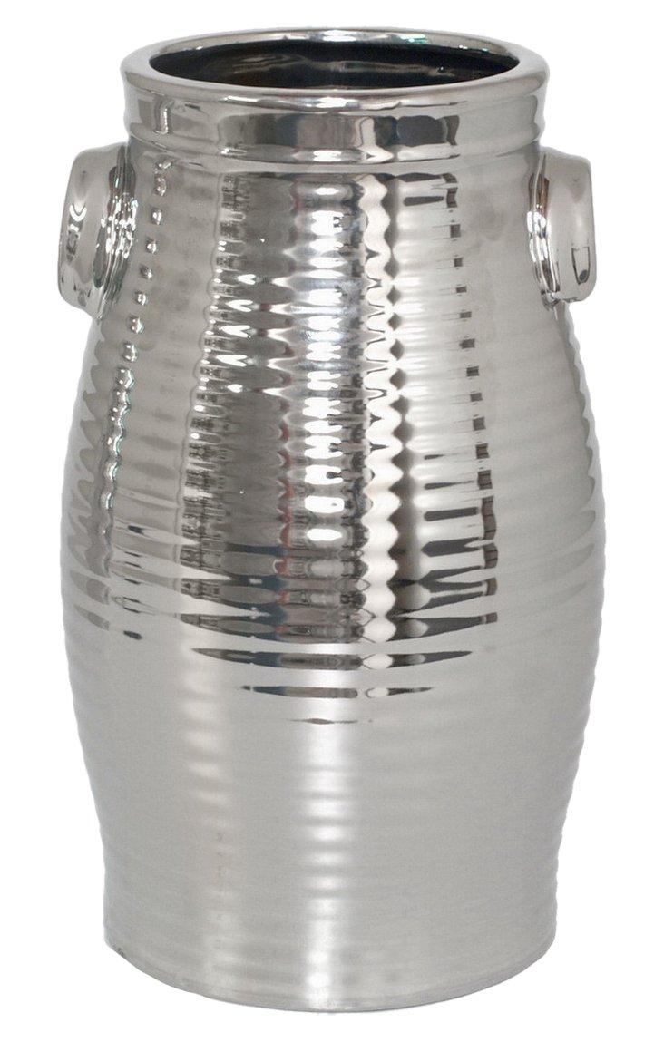 """11"""" Ribbed Ceramic Vase, Silver"""
