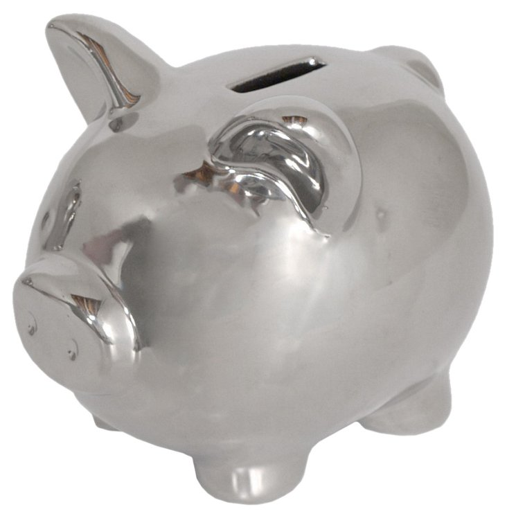 "Pair of 5"" Piggy Banks, Silver"
