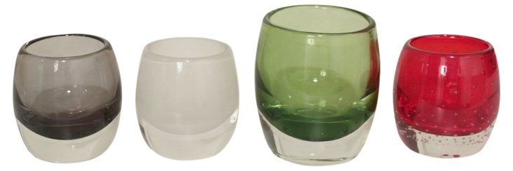 Small Colored Glass Votives, Asst. of 4
