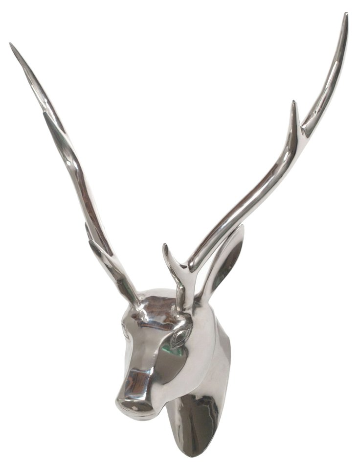 Deer Head Wall Decor, Silver