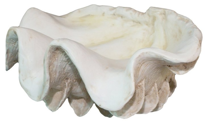 "14"" Decorative Clam Shell, Off-White"