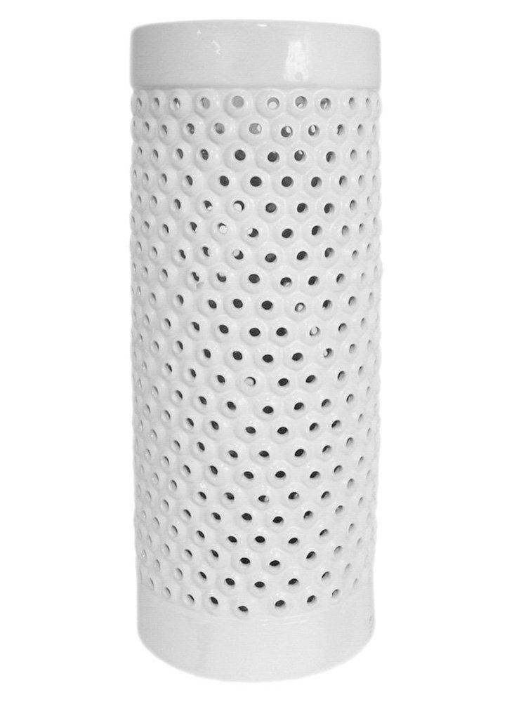 "24"" Pierced Umbrella Stand, White"
