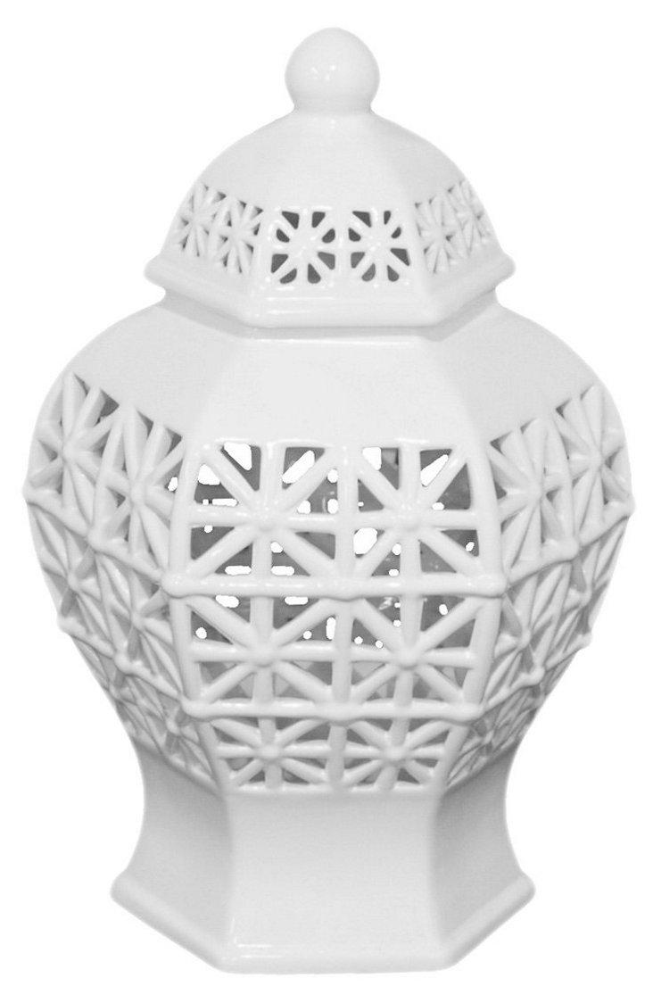 """12"""" Lattice Temple Jar, White"""