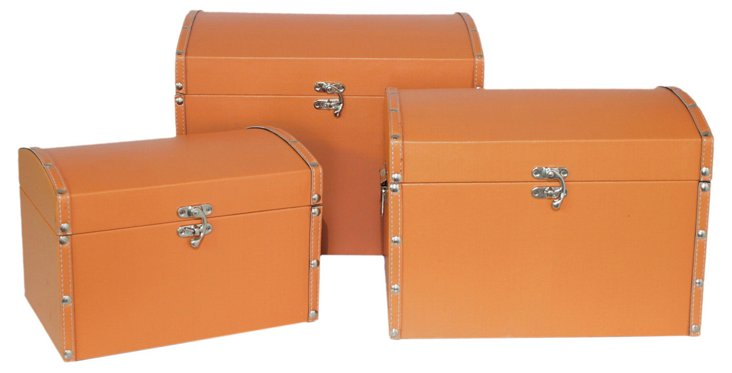 Asst. of 3 Convex Lined Boxes, Orange