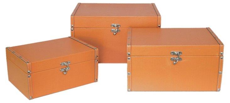 Asst. of 3 Flat Lined Boxes, Orange