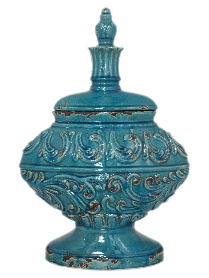 "22"" Turquoise Temple Jar"