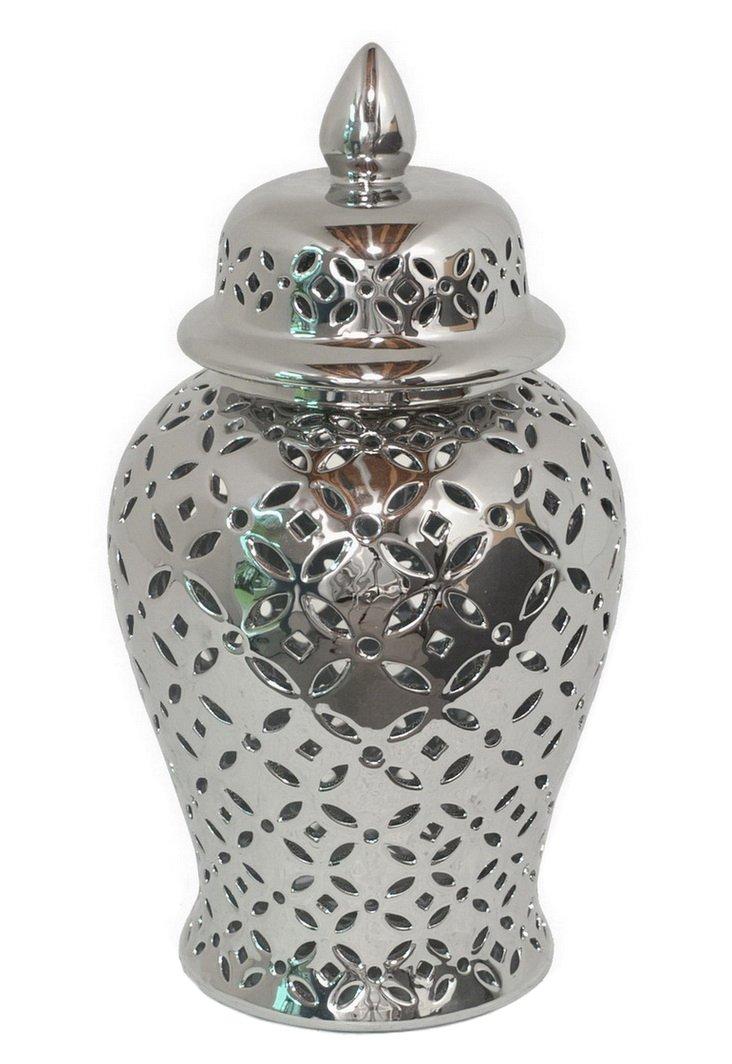 "17"" Pierced Temple Jar, Silver"