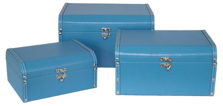Asst. of 3 Dome Lined Boxes, Blue