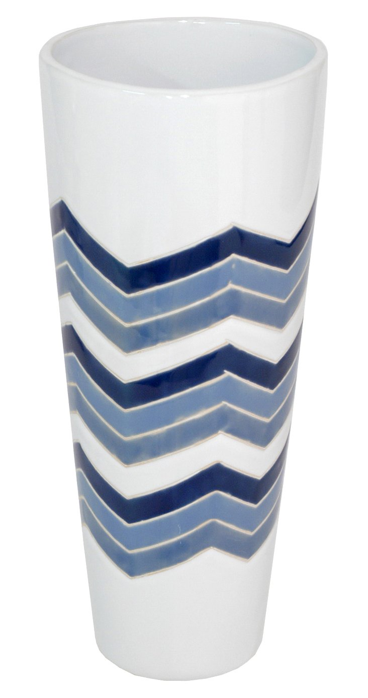 "12"" Zigzag Vase, Blue/White"