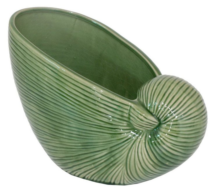 "9"" Green Shell Vase"