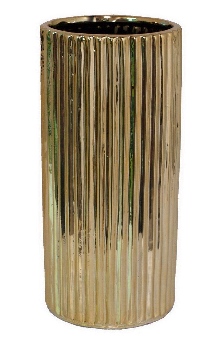 """12"""" Ribbed Ceramic Vase"""