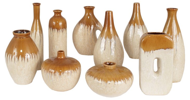 Ceramic Drip Vases, Asst. of 10