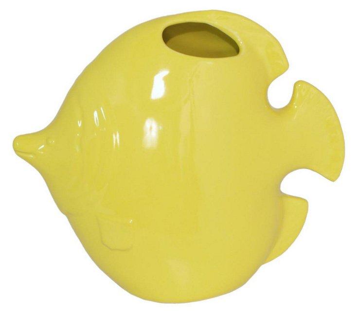 """14"""" Happy Fish Vase, Yellow"""