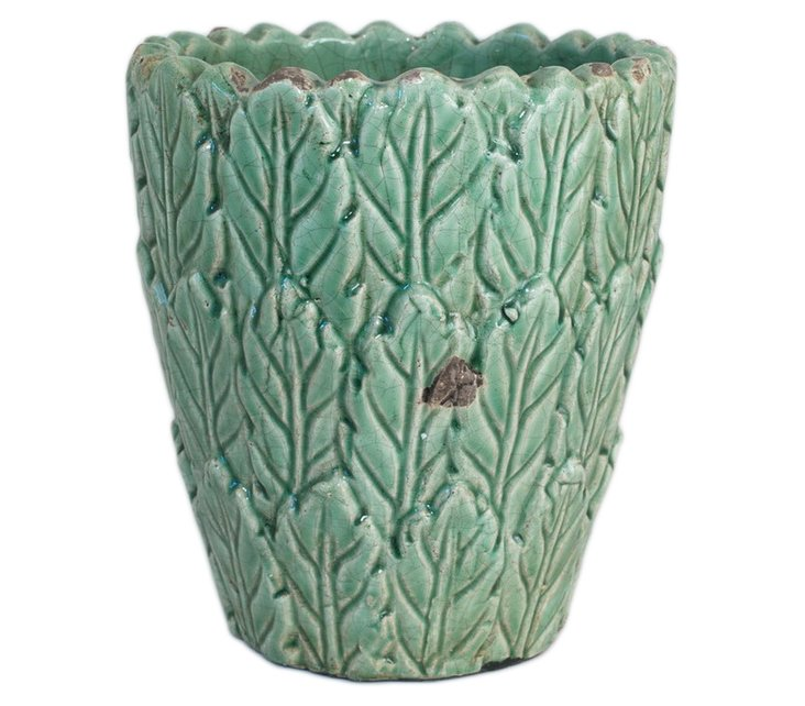 "12"" Leaves Vase, Green"