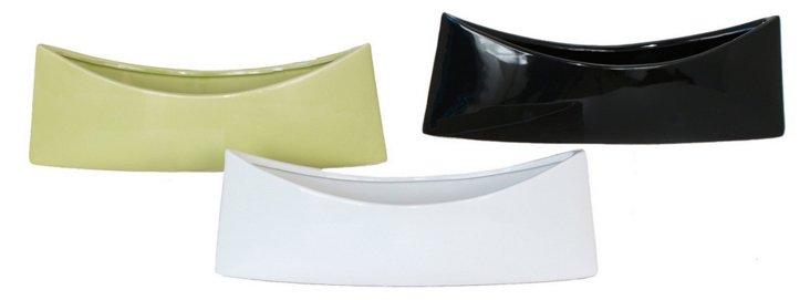 Canoe Vases, Asst. of 3