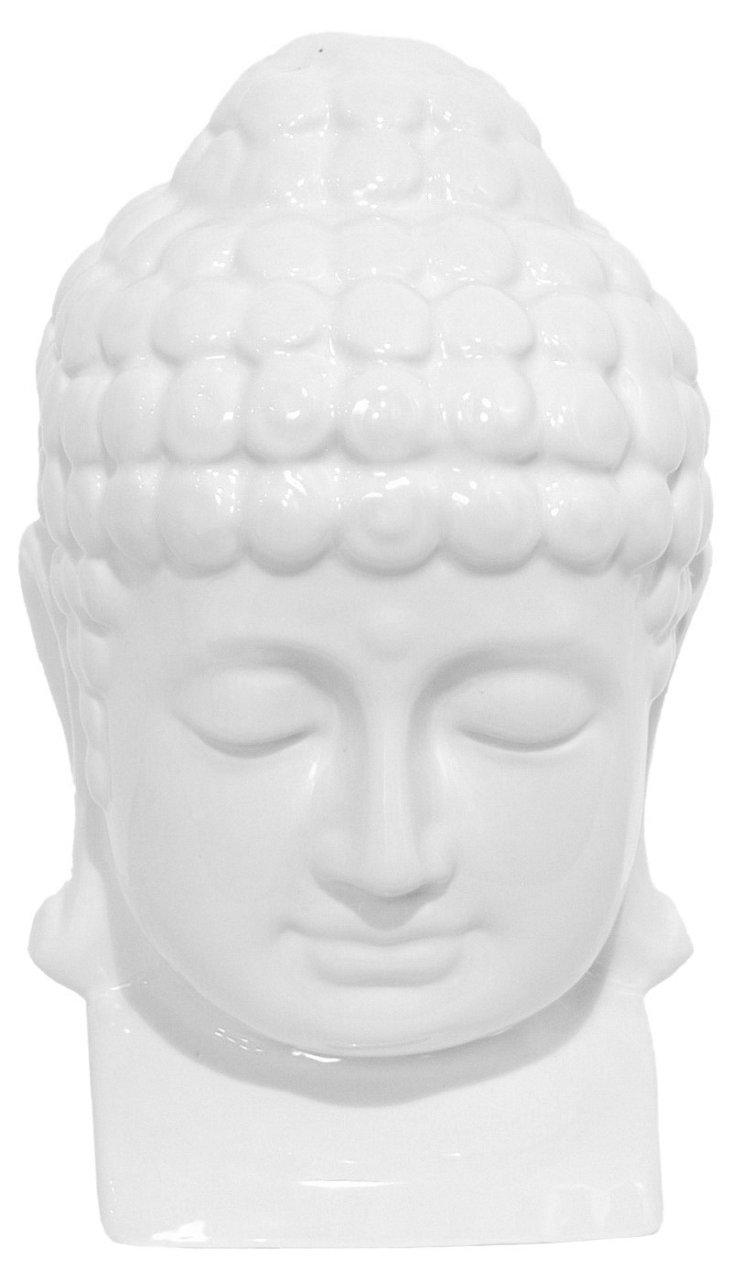 """13"""" Ceramic Buddha Objet, White"""