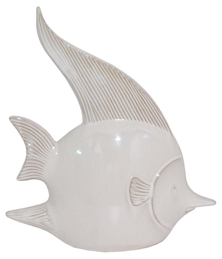 """15"""" Ceramic Fish, White"""